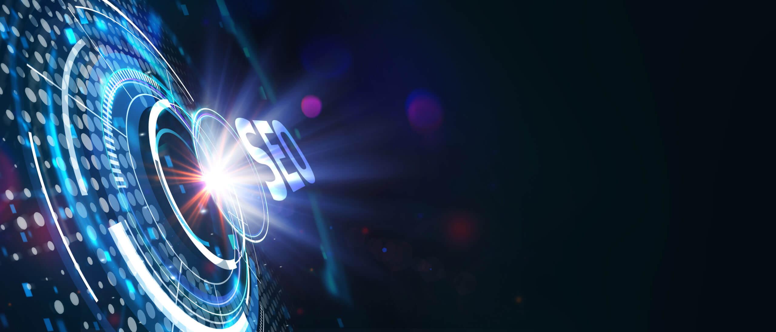 stock foto seo auf futuristischem Hintergrund